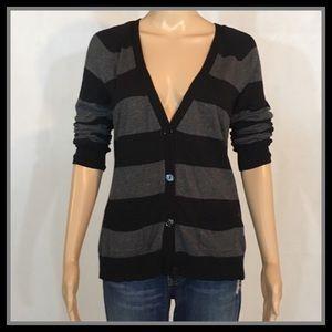 Worthington Striped Black & Gray Cardigan
